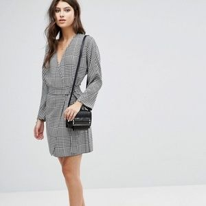 ASOS Mini Wrap Plaid Houndstooth Dress in Check 12